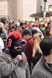 Fan Beards. BOSTON, MASS.- 2 Nov: Fans sport fake beards in support of the Boston Red Sox at the Rolling Rally held in Boston on 2 November 2013 to celebrate the royalty free stock image