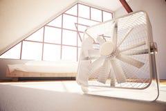 Fan in bedroom. Closeup of fan in bedroom interior. 3D Rendering royalty free illustration