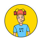 Fan with beer helmet. Sport, baseball, football, soccer. Hand drawn colorful  stock illustration Stock Image