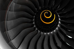 Fan blade of aircraft jet engine. Royalty Free Stock Photography