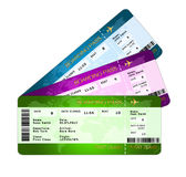 Fan of boarding pass tickets over white Stock Photography