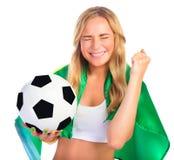 Fan brasileña emocionada del equipo Fotografía de archivo libre de regalías
