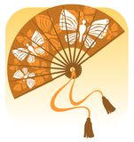 Fan with butterflies Stock Image