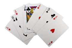 Fan of cards. Featuring more than one Ace of Hearts stock photography