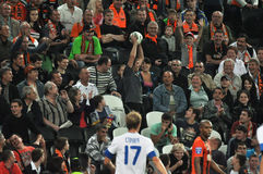 Fan caught the ball Royalty Free Stock Image