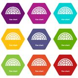 Fan chart icons set 9 vector. Fan chart icons 9 set coloful isolated on white for web Royalty Free Stock Photo