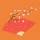 Fan with cherry blossoms Stock Images