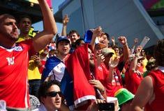 Fan chilena en el mundial 2014 de la FIFA Imagen de archivo libre de regalías
