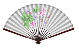Fan china antigua con el modelo del loto Imagenes de archivo