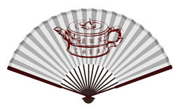 Fan china antigua con la tetera Imagenes de archivo