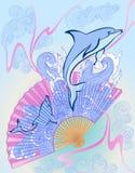 Fan chinoise avec des dauphins Photo stock