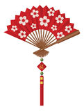 Fan cinese con l'illustrazione di Cherry Blossom Flowers Design Vector Fotografia Stock Libera da Diritti