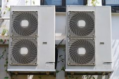 Fan Coil Units. Some fan coil units installed outside a building it serve to condition the air within Royalty Free Stock Photography