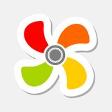 Fan color sticker icon Stock Images
