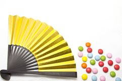 Fan and colorful chocolate. This is a photo of colorful chocolate and fan Royalty Free Stock Photo