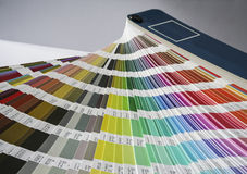 Fan of colour swatches for printing and graphic design. Royalty Free Stock Photo