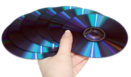 Fan from compact discs. A hand with fan from compact discs Stock Image