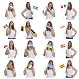 Fan con las banderas europeas Foto de archivo