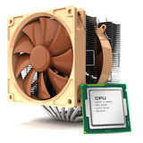 Fan cooler for PC and CPU chip processor and  on white b Stock Photo