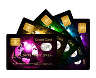 Fan of credit cards over white background Stock Photo