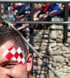 Fan croati che seguono il finale di coppa del Mondo Fotografie Stock Libere da Diritti