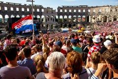 Fan croati che seguono il finale di coppa del Mondo Fotografia Stock Libera da Diritti