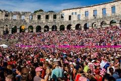 Fan croati che seguono il finale di coppa del Mondo Fotografia Stock