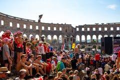 Fan croati che seguono il finale di coppa del Mondo Immagine Stock