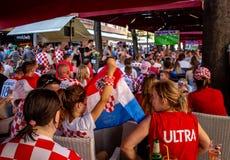 Fan croati che seguono il finale di coppa del Mondo Immagini Stock Libere da Diritti