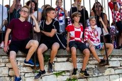 Fan croati che seguono il finale di coppa del Mondo Fotografie Stock