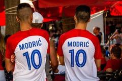 Fan croati che seguono il finale di coppa del Mondo Immagini Stock