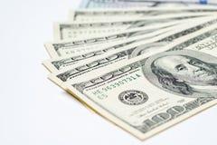 Fan d'argent liquide d'argent, $100 factures Image libre de droits