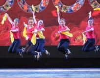 The fan dance basic skill-The national dance training Stock Photos