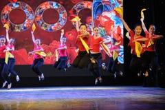 The fan dance basic skill-The national dance training Stock Photo