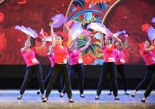 The fan dance basic skill-The national dance training Stock Image