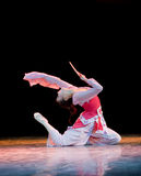 The fan dance basic training--Chinese folk dance Stock Photography