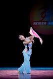 The fan dance basic training--Chinese folk dance Stock Images