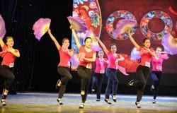 The fan dance basic training-The national dance training Stock Image