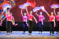 The fan dance basic training-The national dance training Royalty Free Stock Photos