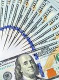 Fan de 100 billetes de dólar Imagen de archivo libre de regalías