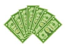 Fan de billets de banque d'argent La pile de l'argent liquide des dollars, les billets d'un dollar verts amassent ou illustration illustration libre de droits