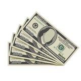 Fan de cientos billetes de banco del dólar Imagen de archivo libre de regalías