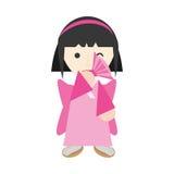 fan de exécution et diadème de fille japonaise illustration libre de droits