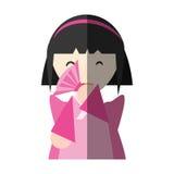 fan de fille japonaise et ombre de exécution de diadème illustration libre de droits