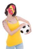 Fan de foot assez femelle de l'équipe nationale espagnole Photo libre de droits
