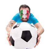Fan de foot de sourire d'équipe nationale de tha de l'Italie, le football dedans Images libres de droits