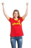 Fan de foot espagnol encourageant Images stock