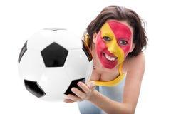 Fan de foot femelle de l'équipe nationale de l'Espagne Images stock