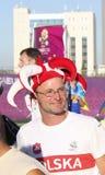 Fan de foot polonais non identifié avant match de l'EURO 2012 de l'UEFA Image stock