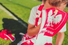 Fan de foot polonais pleurant Photo stock